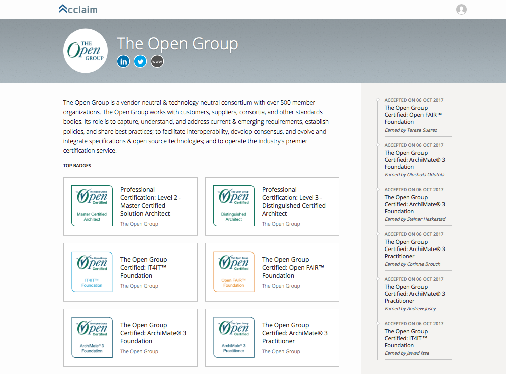Certifications Open Badges The Open Group